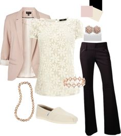 Blush and Ivory Teacher outfit--but not with those shoes. I would like to see this outfit with blush shoes. Komplette Outfits, Casual Outfits, Fashion Outfits, Womens Fashion, Work Outfits, Casual Pants, Formal Outfits, Looks Style, Style Me