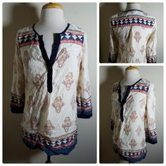 7b395078357 Lucky Brand Women's Top Blouse Peasant Tunic Boho Printed 3/4 Sleeve Size S  #