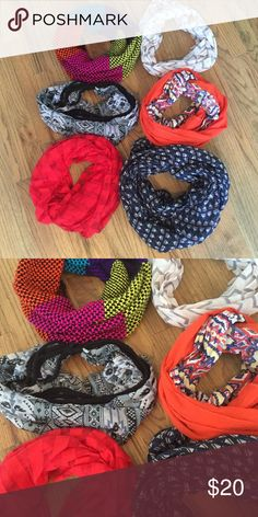 Bundle of 5 infinity scarfs! Top left is sold All worn a few times! All in excellent condition! Get them all for $20 or $5 dollars each! Accessories Scarves & Wraps
