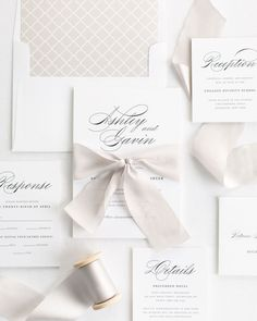 Complete Wedding Invitations with Mink Ribbon and Enclosures