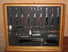 [IMG] This is a model Marlin Spike knife that was recently manufactured. Camillus made this for sale to the military and civilian markets. Knife Display Case, Guitar Display Case, Display Cases, Camillus Knives, Wine Bottle Display, Diy Knife, Knife Storage, Gun Rooms, Case Knives
