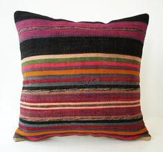 BIG SALE / Hand Woven - Turkish Striped Kilim Pillow Cover - 12x16