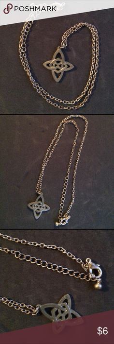"""Silvery metallic Celtic cross chain necklace Vintage small silvery metal Celtic cross pendant on chain. Roughly 10.5"""" in length. I ship daily and am open to trades if you have one of my ISOs (listed in my closet). Will consider all offers! Vintage Jewelry Necklaces"""