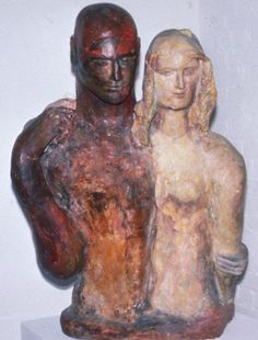 """Earth and Fire', 1950, Turku Trajan, American (1887-1957), plaster, 44 x 34 in. Gift of Virginia Zabriskie, 1980. 1980.2801"