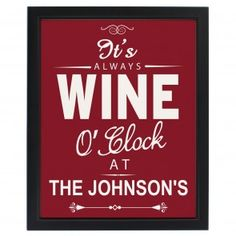 Personalised Wine O'Clock Framed Print