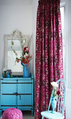 Teaming Bright Pink Curtains With Turquoise Accessories And Furniture Make A Great Match In Bedrooms Or