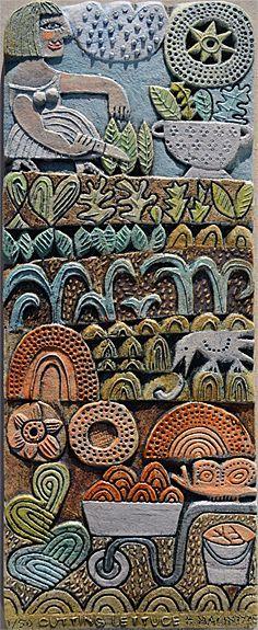 Scottish Contemporary Art | Ian and Hilke MacIntyre Sites > Hilke Macintyre > Ceramics > c90 cutting lettuce