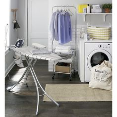 Wide Top Ironing Board Cover with Grey Stripe Pad in Laundry | Crate and Barrel subway tile