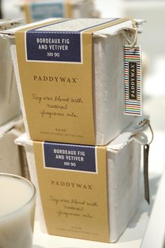 Paddywax molded-pulp packaging.