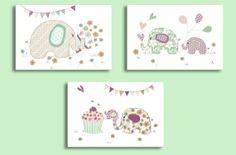 Nursery Decor, Baby Girl Elephant Art Print, Cupcake, Balloons, Flowers. Teal, Aqua, Purple Set of Three 8 x 10 Elephant Party