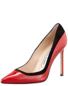 Pretati Patent & Suede Pump, Red/Black by MANOLO BLAHNIK at Bergdorf Goodman.