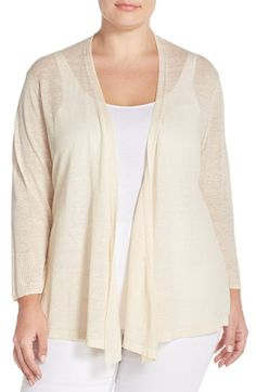 NIC+ZOE '4-Way' Three Quarter Sleeve Convertible Cardigan (Plus Size)