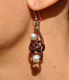 Freshwater Pearl and Leather Earrings 2 Pearl Friendship Knot Brown. $59.00, via Etsy.