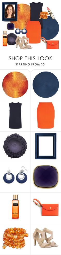 """Contrast Colour"" by veronica-h ❤ liked on Polyvore featuring Safavieh, Deborah Rhodes, Victoria's Secret, J.Crew, Kenneth Jay Lane, skirt, Heels, orange and navy"