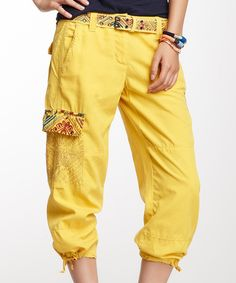This Yellow Embellished Silk-Blend Capri Pants by Da-Nang is perfect! #zulilyfinds