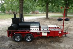 This BBQ pit is designed to impress and entertain a crowd! Bbq Smoker Trailer, Bbq Pit Smoker, Barbecue Smoker, Bbq Grill, Drum Smoker, Custom Bbq Smokers, Custom Bbq Pits, Bbq Smokers For Sale, Smoker Designs