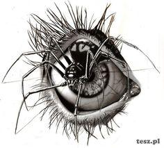 drawings of creepy eyes Eyeball Drawing, Spider Drawing, Spider Art, Spider Tattoo, Drawing Eyes, Creepy Drawings, Dark Art Drawings, Art Drawings Sketches, Cool Drawings