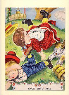 Vintage Illustration Nursery Rhyme via Etsy