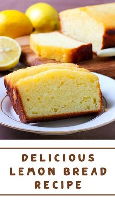 An easy and delicious recipe for Lemon Bread that is even better than Starbuck's Lemon Loaf. This lemon bread is tender, moist, and full of bright lemon flavor and finished with a sweet glaze if you like. Lemon Recipes, Bread Recipes, Cake Recipes, Dessert Recipes, Recipes For Lemons, Köstliche Desserts, Delicious Desserts, Yummy Food, Easy Lemon Desserts