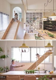 This modern apartment features a lofted play space just off the kitchen with a wood slide attached to it, making it super quick to come down for snacks. Furniture for kids, wood furniture, plywood furniture Kids Room Design, Home Office Design, House Design, Design D'espace Public, Home Decor Kitchen, Diy Home Decor, Kitchen Modern, Room Decor, Indoor Slides