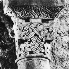 Capital, c. 1020, Stone  Monastery, Sant Pere de Roda  At the beginning the eleventh century, in the south of France and in Catalonia, there was a search for the technical means to solve the problem of adapting the surface motif used on panels (interlacings, palmettes and rosettes) to the rough-hewn surfaces of a capital. As a result, there appeared a series of capitals based on the Corinthian scheme which show the pre-Romanesque shallow relief giving way to chamfering and deep grooving. The…