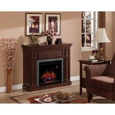 "Granville 43"" Convertible Electric Fireplace Antique Cherry with  Stone Surr #Granville"