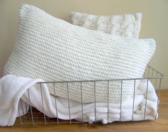 knit pillow - sweater pillow - white - cozy - snuggly - warm knitted on Etsy, $29.99