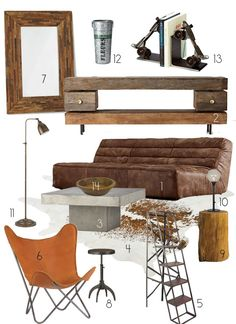 Vintage Industrial Decor Creating a Warm Industrial Living Room Decor Style Source List - Beyond wood and metal, Warm Industrial welcomes with worn leather, natural elements, and the comfort of things that have a history Rustic Apartment, Industrial Apartment, Industrial Bedroom, Industrial Living, Kitchen Industrial, Industrial Wallpaper, Industrial Bookshelf, Industrial Door, Industrial Restaurant