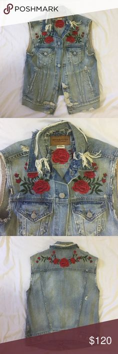 Ralph Lauren Denim & Supply Distressed Denim Vest From the Ruby Rose Collection: Light blue wash, distressed, rose embroidery, two vertical open pockets, two front pockets with silver buttons, fitted but baggy at the same time, only worn once, super light denim. Denim & Supply Ralph Lauren Jackets & Coats Vests