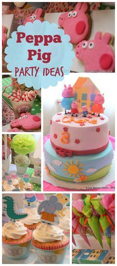 An adorable pastel Peppa Pig girl birthday party with fun decorated cookies and cake! See more party planning ideas at CatchMyParty.com!