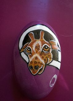 Hand Painted Wildlife Baby Giraffe in by purpleshammrockshop, $18.00