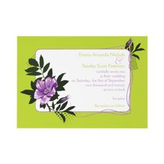 African violet purple wild rose tender shoots green floral wedding invitation by weddings_