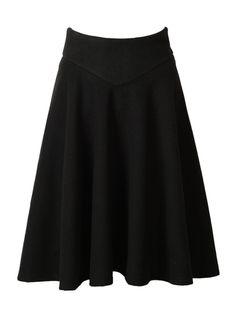 Black High Waist Midi Woolen Blend Skater Skirt