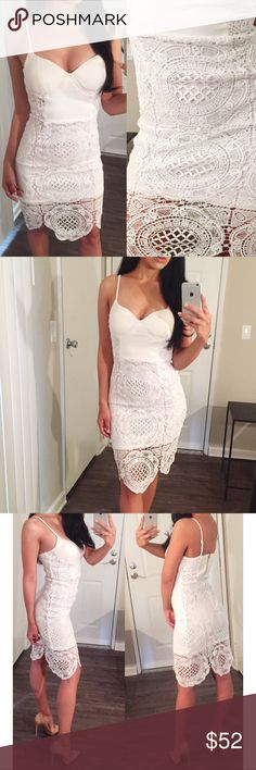 White Lace Crochet Dress Such a beautiful dress! Gorgeous white lace crochet overlay, lined. Cups are padded and straps are adjustable. Zipper in back. The perfect summer midi! Modeling a size small. Boutique pricing is firm, 3+ item bundles receive discount! Boutique Dresses Midi