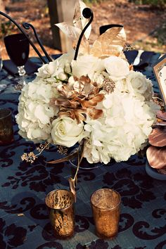 Ivory flowers with a gold succulent, black fiddlhead fern curls and gold greenery for the perfect Fall centerpiece Fall Wedding Centerpieces, Flower Centerpieces, Wedding Decorations, 1930s Wedding, Art Deco Wedding, Autumn Wedding, Our Wedding, Dream Wedding, Church Wedding