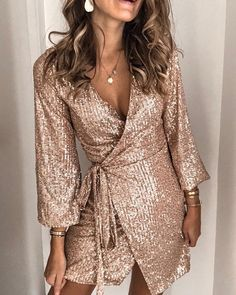 Sequined Tie Waist Mini Dress V Neck Dress, Dress Skirt, Wrap Dress, Dress Up, Belted Dress, Dress Sleeves, Mini Vestidos, Looks Chic, Sequin Mini Dress
