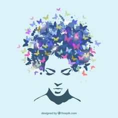 Woman Butterfly Art Print by jsebouvi Butterfly Painting, Butterfly Art, Butterflies, Art Papillon, Photos Hd, Natural Hair Art, Afro Art, Woman Silhouette, Arte Popular