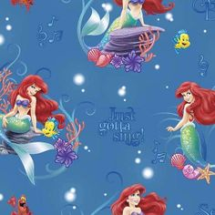 a6aa6be265cc3c Disney Ariel Princess of Waves Little Mermaid Musical Scene Cotton fabric  by the yard 46009