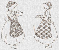 INSTANT DOWNLOAD Sunbonnet Ladies Thanksgiving Redwork Machine Embroidery Designs