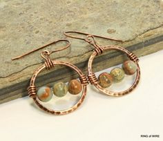 Copper Hoop Earrings with Impression Jasper Beads by RingofWire