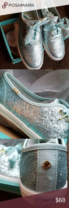 New Kate Spade Keds Blue Sparkle Sneakers Brand New - Kate Spade and Keds teamed up for this great Spring / Summer Blue Glitter Sneaker with Satin Ribbon Laces - Size 6 1/2 Still in box and has 2nd pair of blue laces. kate spade Shoes Sneakers