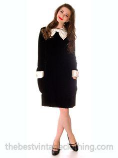 Vintage 1960s Black Dress Velvet Jeunesse Satin Collar Cocktail Gown Sz 8