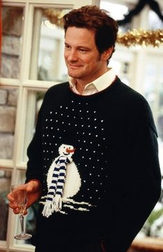 """Colin Firth as Mark Darcy in Bridget Jones Diary 2001 - wearing one of his """"interesting"""" Christmas jumpers ♥ Colin Firth Bridget Jones, Colin Firth Mr Darcy, Colin Firth Film, Christmas Jumpers, Ugly Christmas Sweater, Christmas Ad, Christmas Things, Christmas Knitting, Bridget Jones's Diary"""