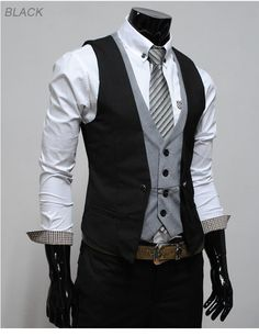 I love this ! Smart and dressy but would also show off the groom's relaxed style. AND I love the two waistcoats.