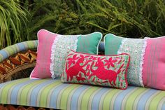 """Fuchsia on green and pink plaid hand embroidered Otomi Sham Scarlett """" – Casa Otomi  Mexico, Tenango, wedding, textile, mexican suzani, embroidery, hand embroidered, otomi, fiber art, mexican, handmade,  casa, decor, interior, frida, kahlo, folk,  folk art, house, home, puebla, las flores, cushion, serape, preppy, gingham, polka dots, pink, lime, green, lily pulitizer, pouf, elle decor, boho, style, bestey johnson, lily pultizer, interior, stripes, southern living, southern style,"""