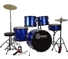 Gammon Drum Set Blue Complete Full Size Adult Kit With Cymbals Sticks Hardware And Stool - Musicians Discount Warehouse