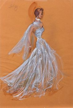 Edith Head costume sketch for Jane Wyman, from Lucy Gallant , (Paramount Pictures, 1955).