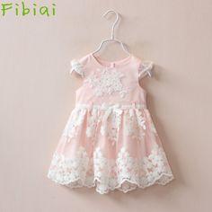 Fibiai Retail Drop Shopping Princess Children Pink Lace Prom Dress Girls Bridesmaid Summer Dresses 1-6 Years