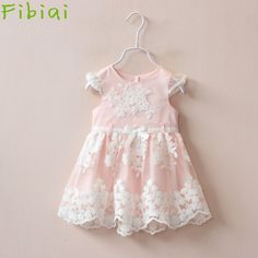 Fibiai Retail Drop Shopping Princess Children Pink Lace Prom Dress Girls Bridesmaid Summer Dresses 1-6 Years