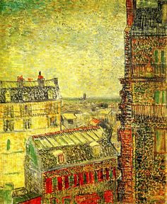 VINCENT VAN GOGH - VIEW OF PARIS FROM VINCENT'S ROOM IN THE RUE LEPIC 1887 46x38cm oil/canvas Amsterdam, Van Gogh Museum